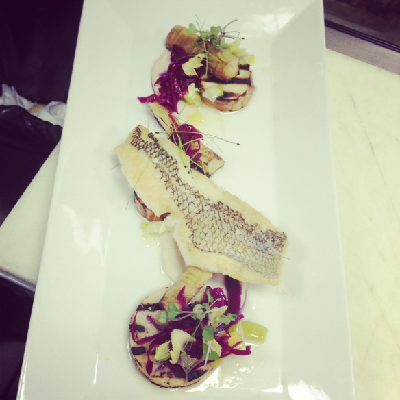 Black Bass - celery - parsnip  - cabbage - leek