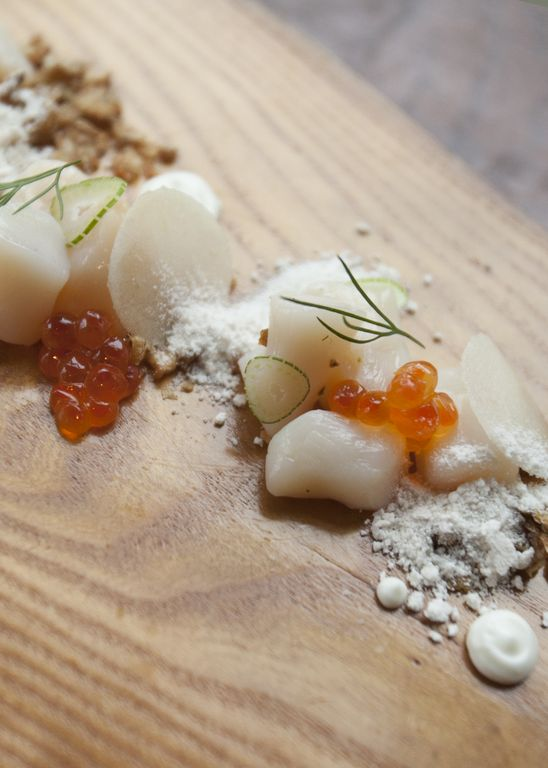 Nantucket Bay scallops - trout Roe - lardo - potato - fennel