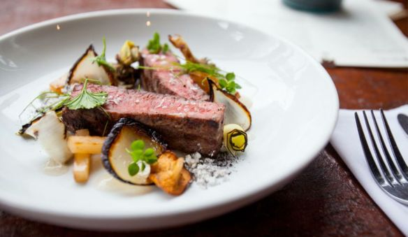flatiron steak - onion - turnip - hedgehog mushrooms